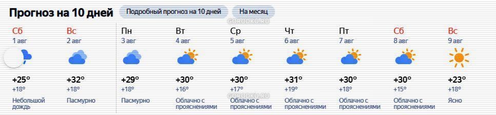 Погода Каменск-Уральский на 10 дней с 31 июля 2020 года