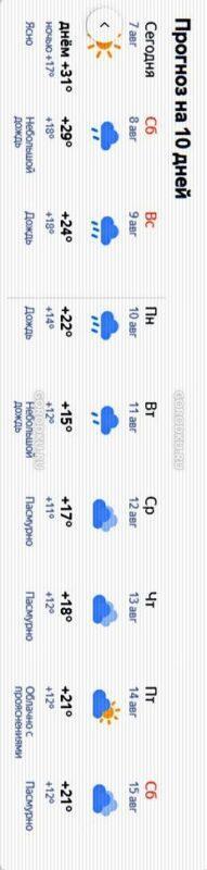Погода на 10 дней с 8 августа 2020 по 15 августа 2020
